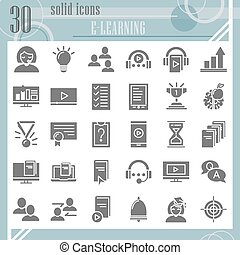 E-learning glyph icon set, education symbols collection, vector sketches, logo illustrations, study signs solid pictograms package isolated on white background, eps 10.