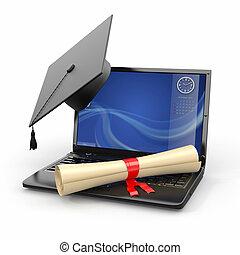 E-learning graduation. Laptop, diploma and mortar board. 3d