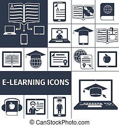 E-learning Icon Black Set
