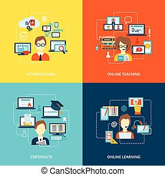 E-learning icon flat - E-learning flat icons set with...