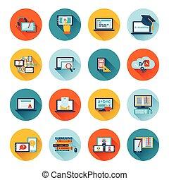 Online education e-learning university webinar student seminar graduation flat icons set vector illustration
