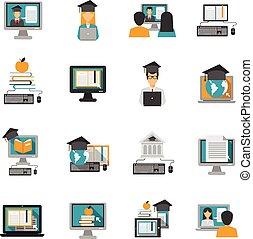 E-learning Icons Flat Set
