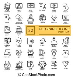 E-learning icons set isolated on white. thin line, flat icons. Outline design. Education concept. eps 10