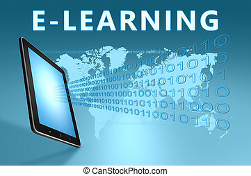 E-learning illustration with tablet computer on blue...