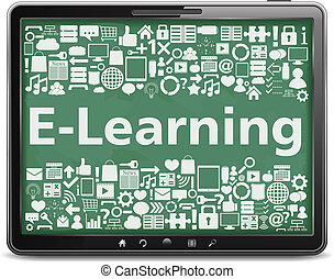 E-Learning concept, tablet computer with different education...
