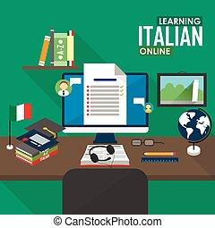 E-learning Italian language. - Flat design vector...