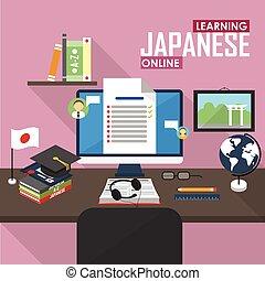 E-learning Japanese language. - Flat design vector...
