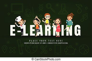 e-learning kids education course concept on chalkboard background illustration