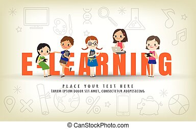 e-learning kids education course concept illustration