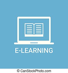 E-learning Label Online Education Icon Concept Laptop Computer With Book Icon