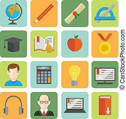 e-learning, lakás, ikon, állhatatos