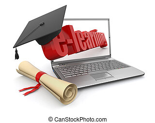 E-learning. Laptop, diploma and mortar board. 3d