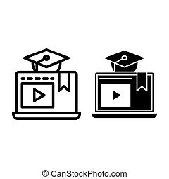 E-learning line and glyph icon. Home education vector illustration isolated on white. Video lessons outline style design, designed for web and app. Eps 10.