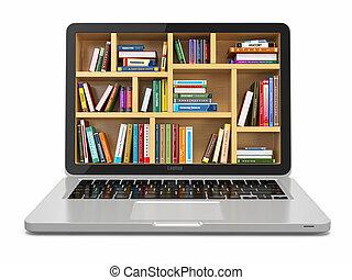 e-learning, oktatás, vagy, internet, library., laptop, és, books.