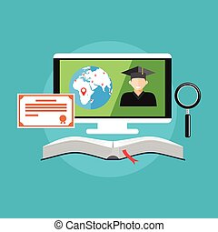 E-learning, on-line education concept