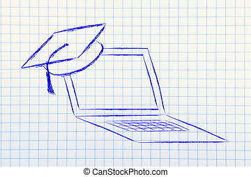computer with graduation cap, metaphor of e-learning