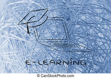 e-learning, online courses and graduation cap - computer...