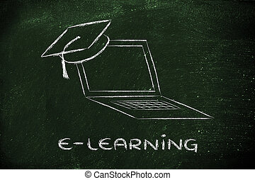 e-learning, online courses and graduation cap