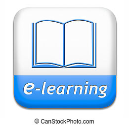 e-learning online education internet learning in open school or university virtual elearning icon button or sign