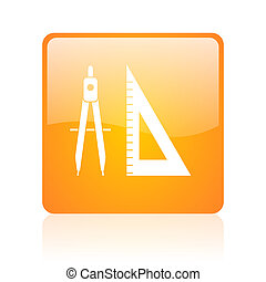 e-learning orange square glossy web icon
