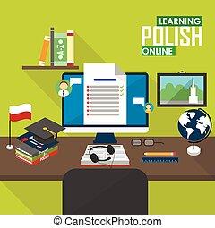 E-learning Polish language. - Flat design vector...