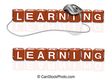 e-learning - red dices spelling the word learning with or...