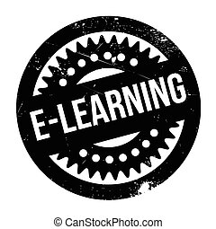E-learning rubber stamp - E-learning stamp. Grunge design...