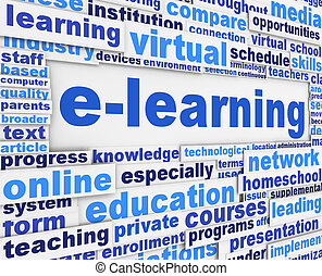 E-learning slogan poster conceptual design. Online learning...