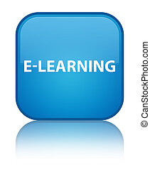 E-learning special cyan blue square button