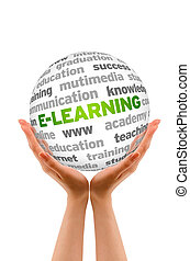E-learning - Hands holding a E-Learning Word Sphere on white...