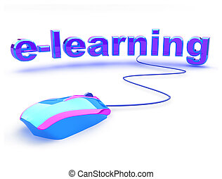 E learning word with beautiful modern computer mouse. Concept of distance learning.