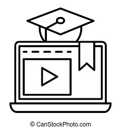 E-learning thin line icon. Home education vector illustration isolated on white. Video lessons outline style design, designed for web and app. Eps 10.