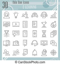 E-learning thin line icon set, education symbols collection, vector sketches, logo illustrations, study signs linear pictograms package isolated on white background, eps 10.