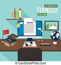 E-learning Turkish language. - Flat design vector...