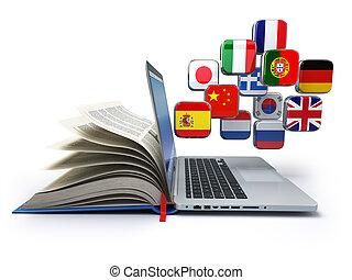 e-learning, vagy, online, translator, concept., tanulás, nyelvek, online., laptop, könyv, és, flags.