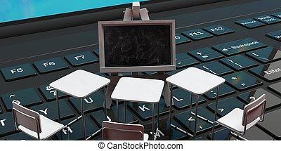 School desks and a blackboard on a black laptop computer keyboard, 3d illustration.