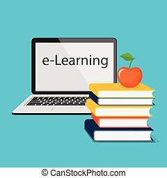 e-learning with laptop - Modern design concept of the...