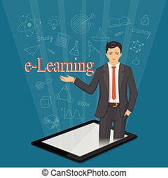 e-learning with virtual man in the tablet