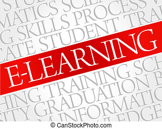 E-LEARNING word cloud, education business concept