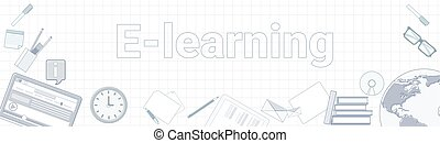 E-learning Word On Squared Background Horizontal Banner Online Education Concept