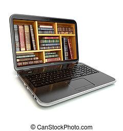 e-leert, opleiding, internet, bibliotheek, of, boek, store., draagbare computer, en, ouderwetse , boekjes , vrijstaand, op, white.