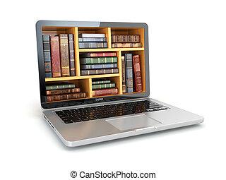 e-leert, opleiding, internet, bibliotheek, of, boek, store., draagbare computer, en