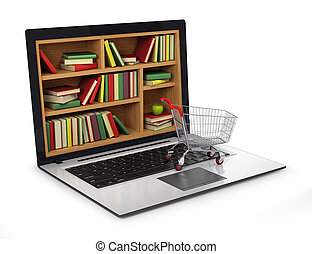 e-leert, opleiding, of, internet, library., conceptueel beeld