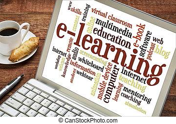 e-leert, woord, wolk, op, draagbare computer