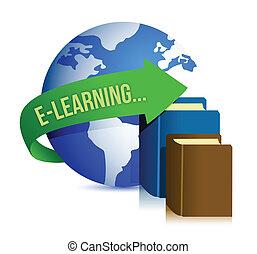 e leren, boekjes , en, globe