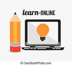 e-, leren, design.
