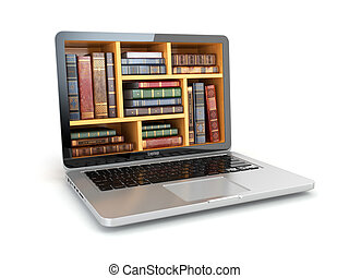 e-lernen, bildung, internet, buchausleihe, oder, buch, store., laptop, und