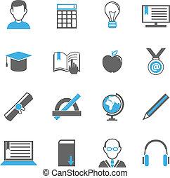 e-lernen, ikone, satz
