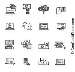 e-lernen, ikone, schwarz