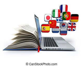 e-lernen, oder, online, translator, concept., lernen, sprachen, online., laptop, buch, und, flags.